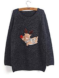 Women's Casual/Daily Cute Regular Pullover,Print Round Neck Long Sleeve Cotton / Rayon Winter Medium