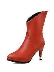 Mujer-Tacón Stiletto-Confort-Botas-Vestido Informal-PU-Negro Marrón Rojo Blanco