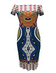 Moulante Robe Femme Soirée / Cocktail / Soirée Sexy,Imprimé Bateau Au dessus du genou Manches Courtes Bleu Rayonne / PolyesterToutes les
