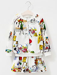 Girl's Cotton Spring/Autumn Cartoon Print Coat And Skirt Two-piece Set