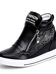 Hombre-Tacón Plano-Cuñas-Zapatillas de deporte-Oficina y Trabajo / Vestido / Casual-Sintético-Negro / Blanco