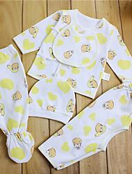 малыш Набор одежды-На каждый день,Однотонный,Хлопок,Весна-Синий / Белый / Желтый