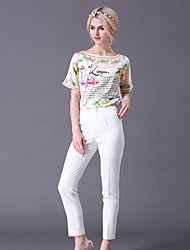 STEPHANIE  Women's Going out Street chic Summer Set PantLetter Boat Neck Length Sleeve White