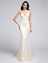 Lanting Bride Trumpet / Mermaid Wedding Dress Sweep / Brush Train Scoop Lace / Satin with Lace