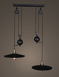 Double Heads Personality Industrial Pully Pendant Lamp for the Kitchen Room / Foyer / Entry Adjustable Chandelier Light