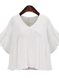 Mulheres Blusa Tamanhos Grandes Moda de Rua Verão,Sólido Branco / Preto Poliéster Decote V Meia Manga Média