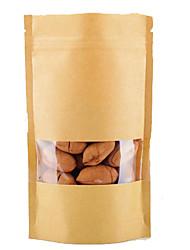 kraft sacs en papier kraft fenêtre ziplock sacs de l'autonomie dans les produits alimentaires de noix sachets de thé d'un paquet de dix
