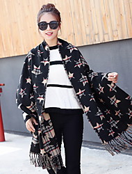 New Winter Scarf Cashmere Scarf Stripe Pentagram Thickened Double Long Shawl
