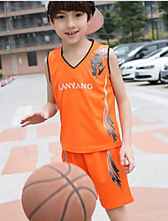 Boy's Sports Print Clothing Set,Polyester Summer Blue / Orange / Yellow