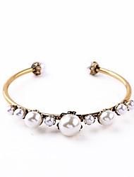 Bohemian Rhinestone Cuff Bracelets Golden Pearl Bracelet Fashionable Geometric Alloy Jewellery