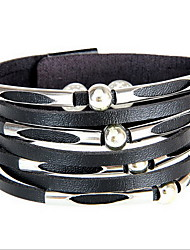 Brown/Black Layered Leather Wrap Bracelet with Bead