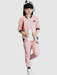 Girl's Sports Patchwork Baseball Clothing Set (Casual Coat & Pants)