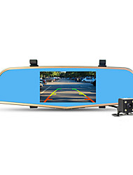 novo carro DVR câmera de 5 polegadas espelho gravador de vídeo digital de lente dupla dvr camcorder registrar full hd 1080p