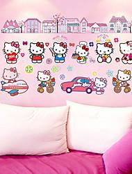 Hello Kitty Cartoon Cat Girls Room Wall Stickers DIY Fashion Living Room Wall Decals