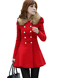 Women's Casual/Daily Street chic / Punk & Gothic Pea Coats,Solid Round Neck Long Sleeve Winter Red / OrangeCashmere