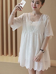 Women's Casual/Daily Simple Loose Dress,Solid V Neck Above Knee ½ Length Sleeve White Polyester Summer