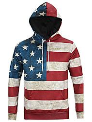 Men's Print Casual / Sport Hoodie,Cotton / Polyester Long Sleeve American Flag Printed Funny 3D Hoodie