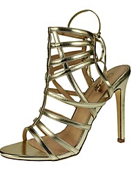 Women's Shoes Leatherette Stiletto Heel Heels / Ankle Strap Sandals Party & Evening / Dress / Casual Silver / Gold
