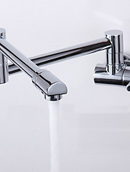 Contemporary Wall Mounted Rotatable with  Ceramic Valve Single Handle One Hole for  Chrome , Bathroom Sink Faucet