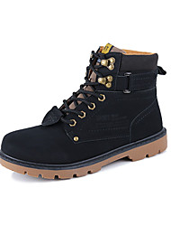 Men's Boots Spring Comfort Cowhide Casual Hiking Flat Heel Lace-up Black Yellow Brown