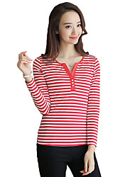 Women's Casual/Daily Simple / Cute Fall / Winter T-shirt,Print Round Neck Long Sleeve Red / Black Cotton Thin