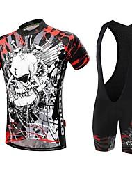Malciklo Camisa com Bermuda Bretelle Homens Manga Curta Moto Conjuntos de Roupas Secagem Rápida Zíper Frontal Vestível Alta