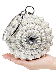 L.WEST Women's The Elegant Luxury Handmade Diamonds Pearl Evening Bag