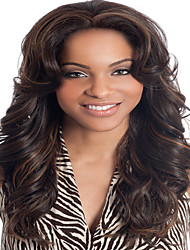 Brown Color Long Curly Wigs Capless Synthetic Wigs For Women