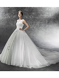 Ball Gown Wedding Dress Court Train Scoop Tulle with Appliques / Beading
