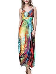 Women's Plus Size / Beach Boho Swing Dress,Print Strap Maxi Sleeveless Blue / Purple / Gold Polyester Print Ramdonly