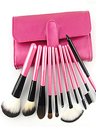 11 Makeup Brushes Set Nylon Professional / Full Coverage / Portable Wood Face / Eye / Lip With Cosmetic Bag