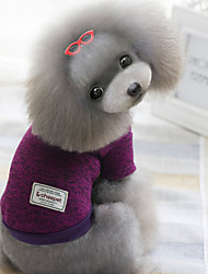 Dog Sweater Red / Green / Purple Winter Solid Keep Warm, Dog Clothes / Dog Clothing