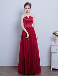 Formal Evening Dress A-line Notched Floor-length Satin / Tulle with Ruching