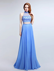 Formal Evening Dress A-line Halter Sweep / Brush Train Chiffon with Beading / Crystal Brooch