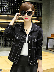 Women's Casual/Daily Simple Spring Denim Jackets,Solid Shirt Collar Long Sleeve Blue / Black Cotton Medium