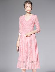 AFOLD® Femme Col en V Manches 1/2 Mollet Robes-Y6066