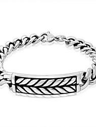 Punk Style Men's 316 Titanium Steel Silver Leaf Fine Jewelry Chain Bracelet