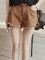 Women's Solid White / Brown Shorts Pants,Simple