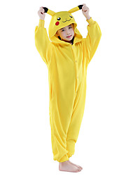 Kigurumi Pajamas New Cosplay® Pika Pika Leotard/Onesie Festival/Holiday Animal Sleepwear Halloween Yellow Solid Flannel Kigurumi For Kid