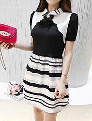 Women's Going out Simple A Line Dress,Striped Shirt Collar Knee-length Short Sleeve Black Polyester Summer