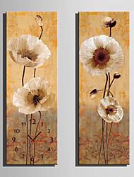Moderne/Contemporain Fleurs / Botaniques Horloge murale,Rectangulaire Toile 24 x 70cm(9inchx28inch)x2pcs/ 30 x 90cm(12inchx35inch)x2pcs