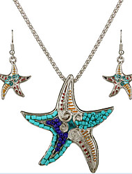 May Polly   European and American fashion personality marine Starfish Pendant Necklace Earrings Set