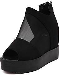 Damen-Sandalen-Lässig-Tüll-Keilabsatz-Vorne offener Schuh / Sandalen-Schwarz