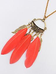 Women's Pendant Necklaces Feather Alloy Vintage Fashion White Black Orange Blue Jewelry Party Casual 1pc