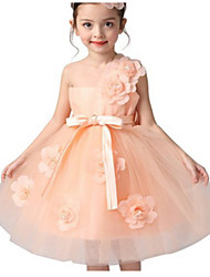 Ball Gown Knee-length Flower Girl Dress - Tulle Sleeveless Jewel with Flower(s) / Sash / Ribbon