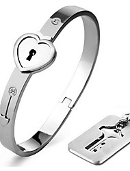 Necklace/Love Bracelet/Bangle,Lock Silver Bracelet with Key Pendant Necklace 316L Stainless Steel Bracelet Jewelry for Couples