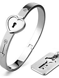 Homens Feminino Casal Bracelete Aço Inoxidável Coração Moda Formato de Coração Amor Prata Jóias 1peça