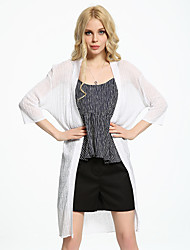 ADEAST  Women's Going out / Casual/Daily / Simple / Street chic Summer / Fall Jackets,Solid Round Neck ¾ Sleeve