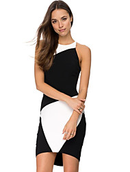Women's Formal Sexy Bodycon DressColor Block Round Neck Mini Sleeveless Black Nylon Summer Mid Rise Micro-elastic Thin