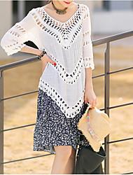Damen Lang Strickjacke-Lässig/Alltäglich Einfach Solide Weiß V-Ausschnitt ¾-Arm Polyester Sommer Dünn